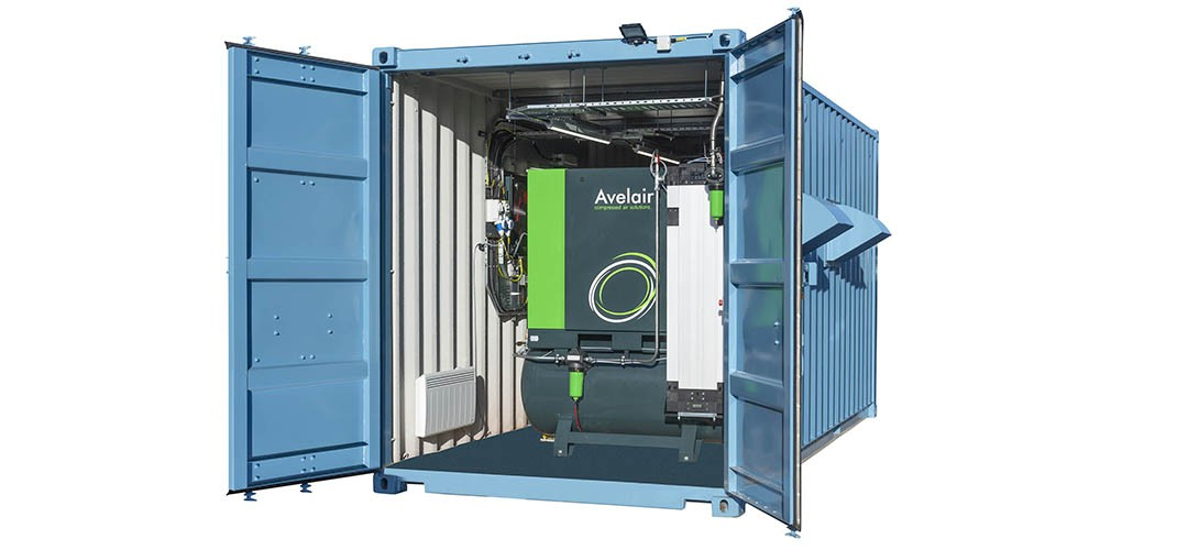 Containerised compressed air system by Avelair